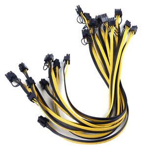 10pcs 50cm Quality 6 pin to Dual 8 Pin (6+2Pin) PCI-E Cable 18AWG Mining