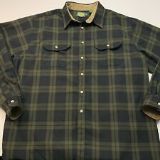 Cabelas Heavy Flannel Shirt in Green Plaid Size: 2XLT (XXL-Tall) Made in USA