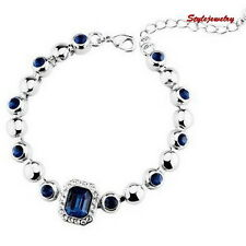 Silver Sapphire Blue Stone Bridal Party Bracelet Made With Swarovski Crystal T43