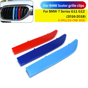 For BMW 7 Series G11 G12 M tri-Colors Kidney Grille Cover Clip Strip Trim New