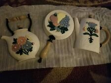 Home Interior Kitchen Wall Plaques Tea Kettle Coffee Pot Skillet N.I.B.