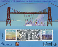 Spain 2017 MNH Exfilna Portugalete Metal Bridge 1v M/S Bridges Pop-out Stamps
