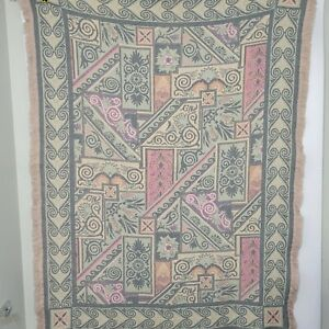 """Goodwin Weavers 100% Cotton Pink Green Purple Tapestery Throw Fringe 67"""" x 49"""""""