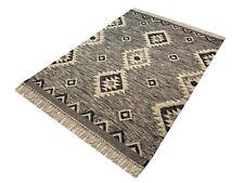 Kilim Teppich 100% Wolle Durry Beige Schwarz Kelim Orientteppich Handgewebt
