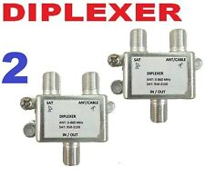 2 X DIPLEXER SWITCH SATELLITE + CABLE TV ANTENNA HD DTV DIGITAL COMBINER FTA