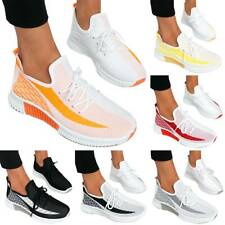 Womens Casual Lace Up Trainers Sports Gym Sneakers Ladies Running Flat Shoes