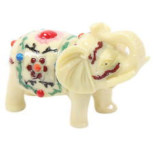 "Feng Shui 3.5"" Ivory Color Elephant Trunk Statue Lucky Figurine Gift Home Decor"