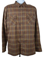 Kuhl Long Sleeve Shirt Button Up size Xl Mens Brown Plaid Hiking Cotton Blend