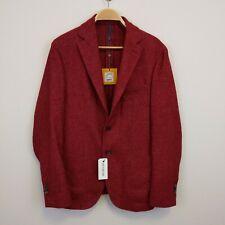 Montedoro Single-breasted unlined jacket in herringbone wool Sz 50 Red