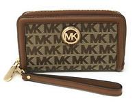 Michael Kors Fulton Large Flat Multifunction Phone Case Wristlet Beige MK Canvas