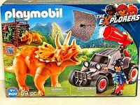 Playmobil Dinosaur Triceratop Poseable Plastic Cage Buggy Figure NEW