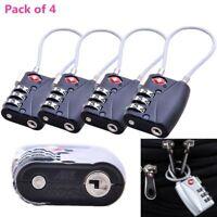 4pcs TSA Approved 3-Dial Luggage Locks Combination Padlock Travel Suitcase AU