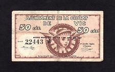 F.C. VIC (BARCELONA) 50 CENTIMOS , SERIE A , B/C .