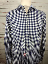 Black by Saks Fifth Avenue Mens Slim Fit XL 100% Cotton Blue Plaid Dress Shirt