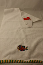 Olivier Desforges ~ TROPICAL FISH ~ guest hand towel BNWT white