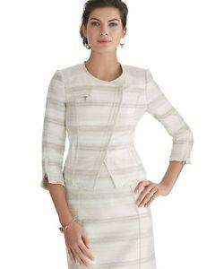 New Womens 6 White House Black Market Moto Suit Jacket White Beige Silver Zipper
