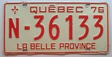 Quebec 1976 (FARM TRUCK OR VAN) License Plate # N-36133