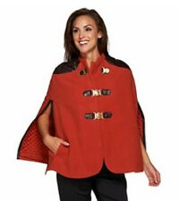 G.I.L.I. Buckle Front Cape with Faux Leather Trim, Spice, Sz 16, Ret $197, NEW!!
