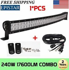 """240W 42"""" Curved Combo Off road Work LED Light Bar Fog Driving DRL SUV+Wiring Kit"""