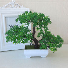 Bonsai Tree with Pot Artificial Plant Decoration for Home Office Desk Green
