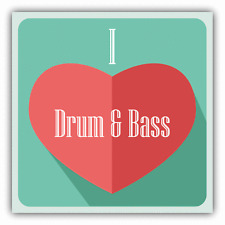 "I Love Drum & Bass Heart Music Car Bumper Sticker Decal 5"" x 5"""
