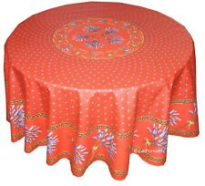 "Le Cluny 70"" Round 100% Cotton Provence Tablecloth - Lavender Red"