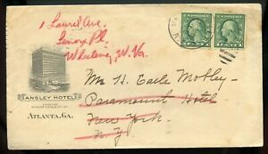 U.S. Scott 498 Booklet Pair on Ansley Hotel Ad Cover W/Georgia RPO Cancel