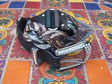 New Western biker black brown sparkly snake skin braided rhinestone buckle belt