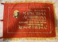 Original Soviet Russian Communist Big Silk Banner Flag USSR Lenin
