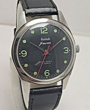 "VINTAGE INDIAN MADE HMT JAWAN BLACK  DIAL HAND-WINDING 17J WRIST WATCH MEN""S"