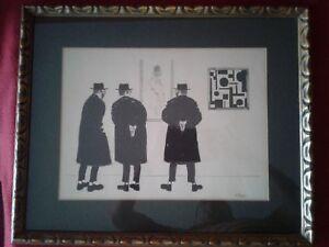 original drawing signed by J. Herr jewish artist
