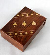 elegante scatola di legno per carte da gioco con messingverzierung