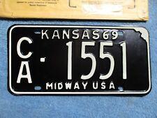 VINTAGE ORIGINAL NOS KANSAS LICENSE TAG CA 1551 1969 PLATE W/ ORIGINAL ENVELOPE