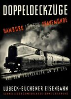 "Vintage Illustrated Travel Poster CANVAS PRINT Hamburg Germany train 24""X16"""
