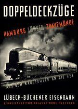 "Vintage Illustrated Travel Poster CANVAS PRINT Hamburg Germany train 24""X16"""