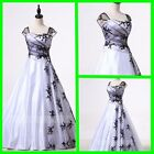 A-line Cap Sleeves Black and White Alternative Wedding Dress W920