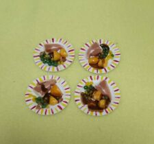 More details for dolls house 1:12 scale set of 4 dinner plates with pork chop dinner new