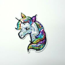 "Unicorn Embroidered Patch Applique Large 6.5/"" X 7/"" Facing Left White Pegasus"