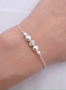Bridal Pearl And Rhinestone Bracelet.wedding,bridesmaids Gift Jewellery's