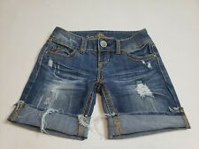 Almost Famous women  denim stretch dark wash blue, distressed shorts size 0.