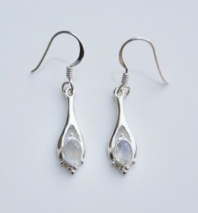 BOXED HANDCRAFTED STERLING SILVER RAINBOW MOONSTONE GEMSTONE SMALL DROP EARRINGS