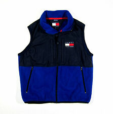 VTG 90S TOMMY HILFIGER VEST FLEECE SAILING SPORT POLO USA FLAG CYCLE NYC S 92 93