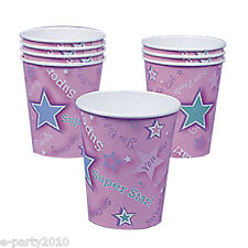 CHEERLEADING 9oz PAPER CUPS (8) ~ Birthday Party Supplies Beverage Drinking Pink