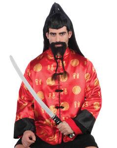 Ancient Asian Warrior Samurai Men Costume Black Braided Beard