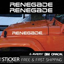 2x Jeep Wrangler Renegade logo Decal sticker 580 x 52mm hood fender TJ JK CJ YJ