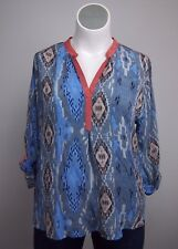 Tolani 1X Silk Blue Gray Ikat Split Blouse Tunic Top Shirt Cover Up Plus Size