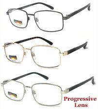 Progressive Reading Glasses 3 Strengths in 1 Reader Metal Frame Spring Temples
