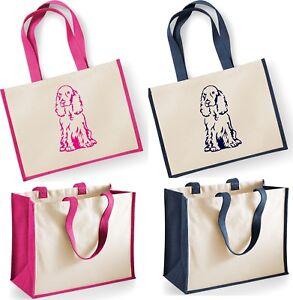COCKER SPANIEL Dog Westford Mill Large Jute Shopper Bag Natural Tote Handbag