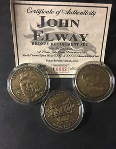 HIGHLAND MINT JOHN ELWAY RETIREMENT 3 COIN SET W/COA Bronze