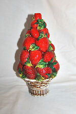 """Vintage Strawberry Majolica Lamp Part Made In Italy 12""""T"""